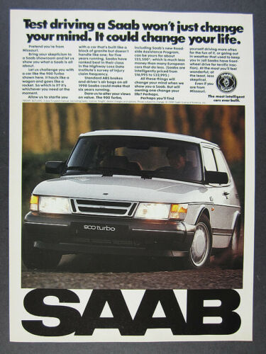 1990 Saab 900 Turbo white car color photo vintage print Ad