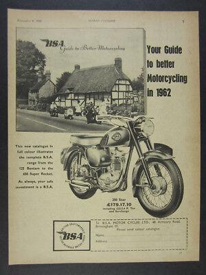 1962 BSA 250 Star Motorcycle vintage print Ad