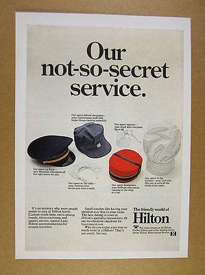 1968 Hilton Hotels Doorman Bellman Waitress Maid Chef Hat Photo Vintage Print Ad
