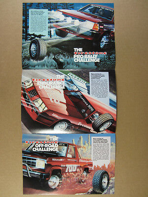 1982 Ford Rally Race Drag Cars Truck Firestone Tires Challenge vintage print Ad