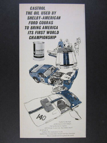 1966 Ford Shelby Cobra ken dallison race car art Castrol Oil vintage print Ad