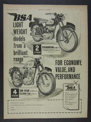 1961 BSA 125 Bantam & 250 Star Motorcycles illustration art vintage print Ad