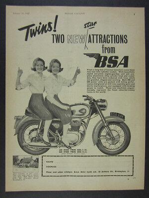 1962 BSA Star Twin 500 650 Motorcycle vintage print Ad
