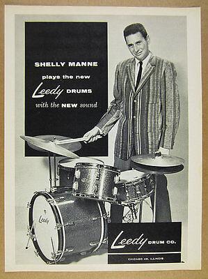 1966 Shelly Manne photo Leedy Drum Set Kit drums vintage print Ad