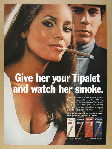 1970 sexy woman smoking photo Tipalet Cigars vintage print Ad