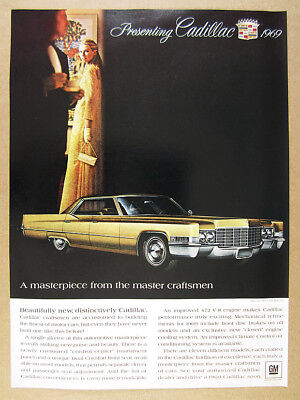 1969 Cadillac Sedan DeVille gold car illustration art vintage print Ad