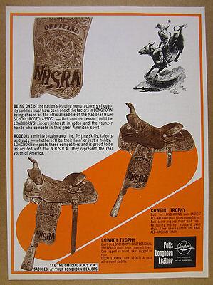 1975 Potts Longhorn COWBOY & COWGIRL TROPHY Saddles rodeo art vintage print Ad