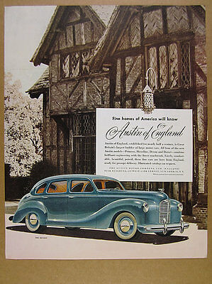 1948 Austin A40 Devon 4-door Saloon car illustration art vintage print Ad