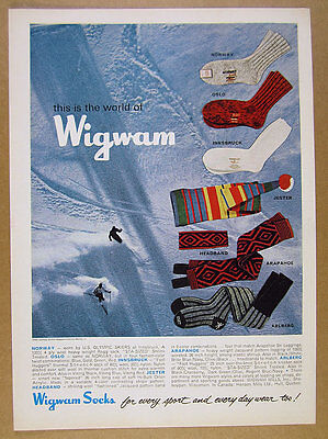 1965 Wigwam Socks Headband Leggings skiers skiing photo vintage print Ad