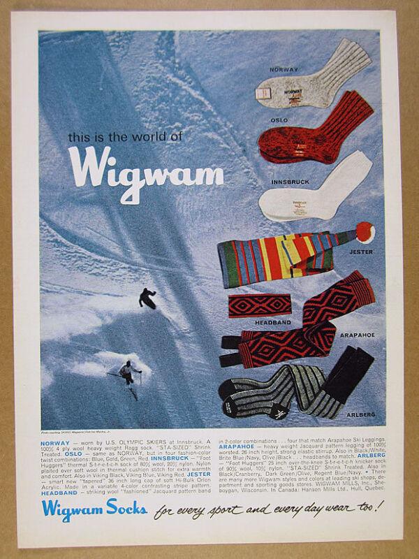 1965 Wigwam Socks Headband Leggings skiers skiing photo vintage print Ad