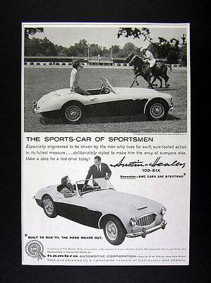 1959 Austin-Healey 100-Six car polo players horses photo vintage print Ad