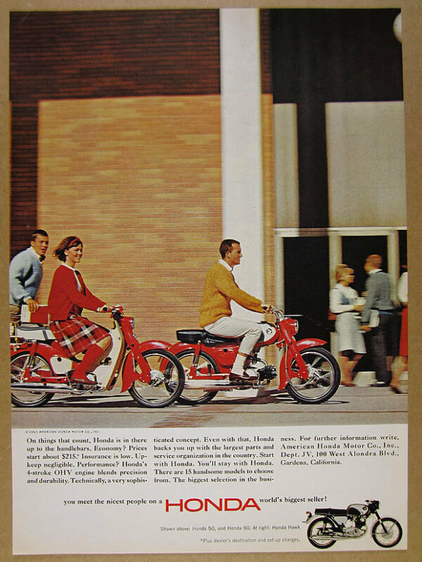 1965 Honda 50 90 & Hawk Motorcycles color photo vintage print Ad