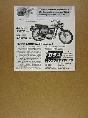 1964 BSA Lightning Rocket motorcycle photo vintage print Ad