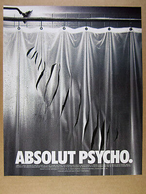 1997 Absolut PSYCHO slashed shower curtain photo vintage print Ad