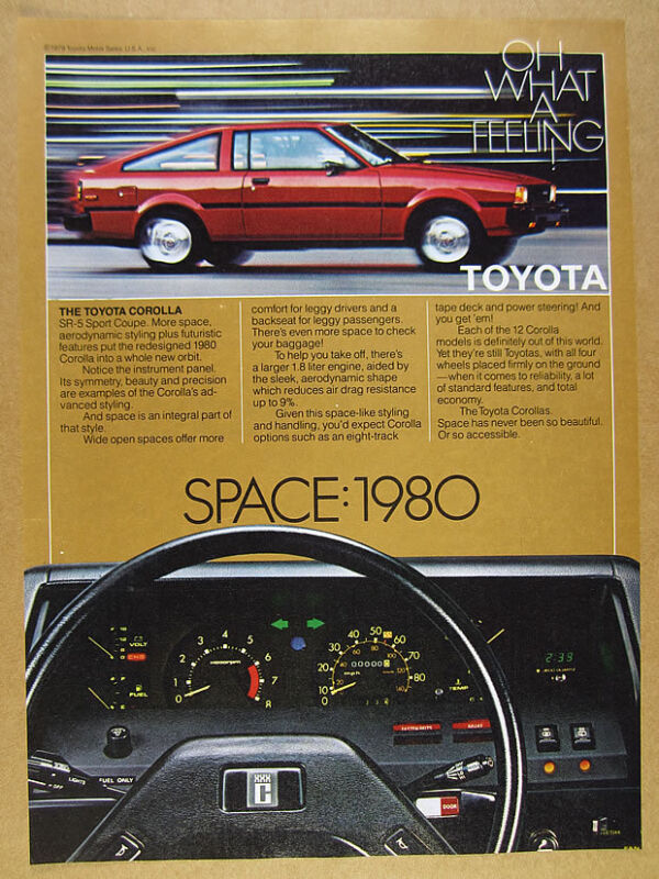 1980 Toyota Corolla SR5 Sport Coupe red car color photo vintage print Ad