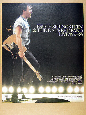 1986 Bruce Springsteen & The E Street Band LIVE album promo vintage print Ad