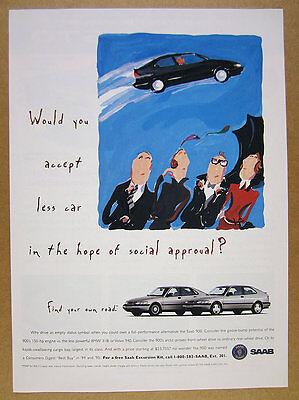 1995 Saab 900 hatchback cars photo vintage print Ad