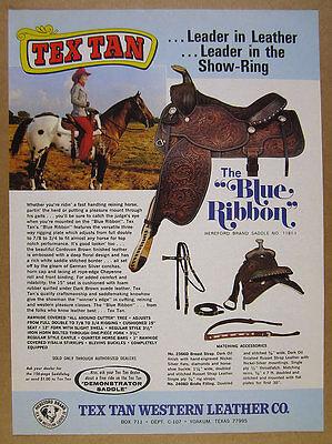 1975 Tex Tan BLUE RIBBON Horse Saddle photo vintage print Ad