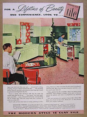 1949 MCM green & pink Mid-Century Kitchen photo Tile Council vintage print Ad