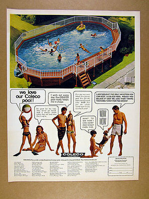 1970 Coleco Swimming Pools family in pool illustration art vintage print Ad