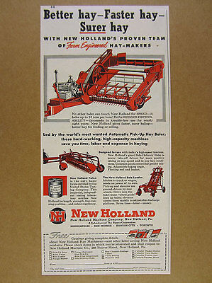 1949 New Holland Hay Baler Rake & Bale Loader haying machines vintage print Ad