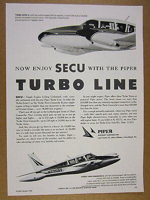 1966 Piper Turbo Aztec C   Twin Comanche C Secu Airplane Photo Vintage Print Ad