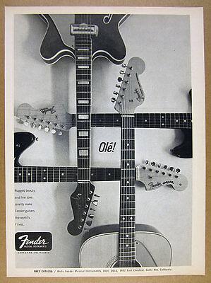 1966 Fender Guitars Jaguar Musicmaster Concert Acoustic photo vintage print Ad