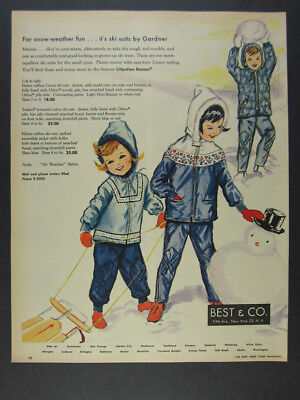 1963 Best & Co. Liliputian Bazaar Ski Snow Suits kids playing art vintage