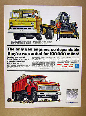 1962 Ford C-Series yellow Tilt-Cab & orange Dump Truck art vintage print Ad