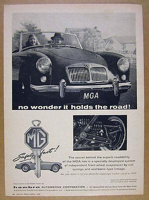 1958 MG MGA sports car photo vintage print Ad