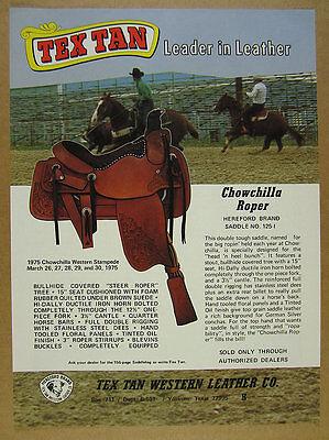 1975 Tex Tan CHOWCHILLA ROPER Horse Saddle photo vintage print Ad