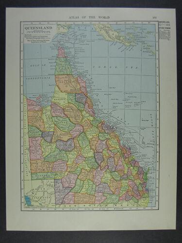 1909 Queensland Australia Map color antique vintage