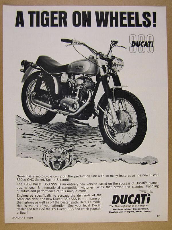 1969 Ducati 350 SSS motorcycle photo vintage print Ad