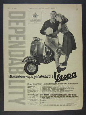 1961 Vespa 125 Scooter photo vintage print Ad