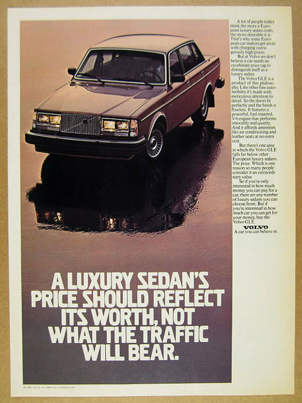 1981 Volvo GLE Sedan car photo vintage print Ad