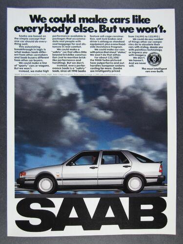 1990 Saab 9000 Turbo Sedan photo vintage print Ad