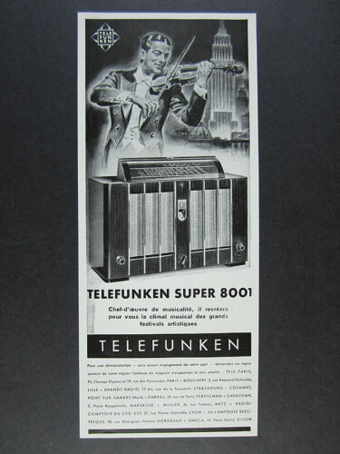 1938 Telefunken Super 8001 Radio French vintage print Ad