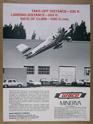 1968 Waco Minerva STOL airplane aircraft photo vintage print Ad