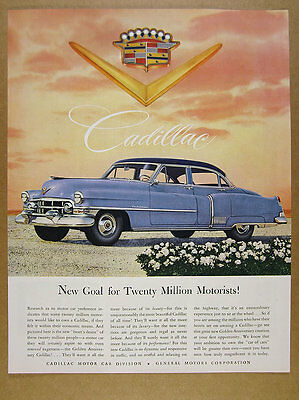 1952 Cadillac 60 Special Sedan blue car illustration art vintage print Ad