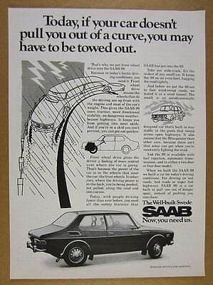 1971 Saab 99 2-door coupe car photo vintage print Ad