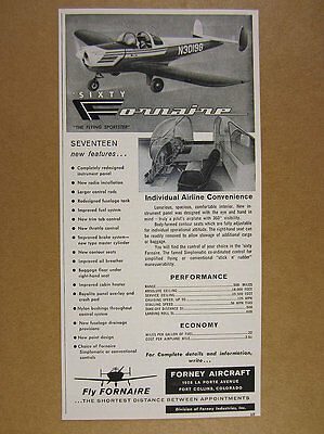 1960 Forney aircraft Fornaire Airplane plane photo vintage print Ad