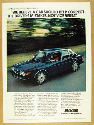 1975 Saab 99 sedan 4-door color car photo vintage print Ad