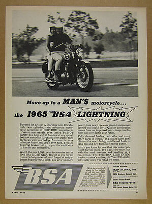 1965 BSA Lightning man & woman riding motorcycle photo vintage print Ad