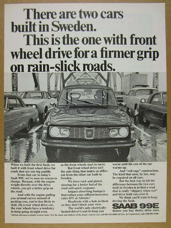 1972 Saab 99E 99-E car bridge rainy wet road photo vintage print Ad