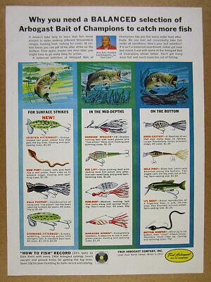 1964 Arbogast Fishing Lures jitterbug wiggler hula popper art vintage print Ad