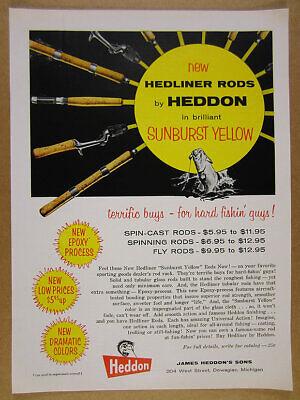1958 Heddon Hedliner 'Sunburst Yellow' Fishing Rods vintage print Ad