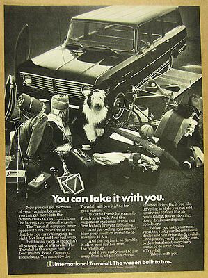 1972 IH International Harvester Travelall sheepdog photo vintage print Ad
