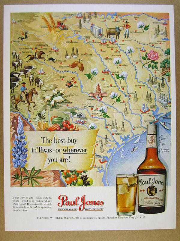 1950 Texas Map cities towns landmarks art Paul Jones Whiskey vintage print Ad