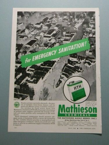 "1945 MATHIESON CHEMICALS HTH ""FOR EMERGENCY SANITATION!"" SALES ART AD"