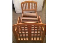 Child's baby weavers solid wood bed with mattress and fitted sheet